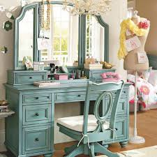 vanity make up table bedroom lovely vintage blue vanity make up table with tripod mirror