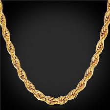 chain rope necklace images U7 18k gold plated 3mm rope chain necklace jpg