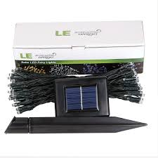 le better lighting experience 100 led solar powered fairy light warm white string 17m 56ft le