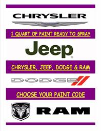 chrysler dodge jeep ram choose your paint code 1 quart ready