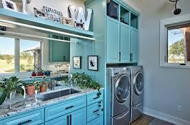 cuisine buanderie design interieur aménagement buanderie cuisine placard bois bleu