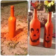 halloween lantern craft wine bottle jack o lanterns spray paint old wine bottles draw
