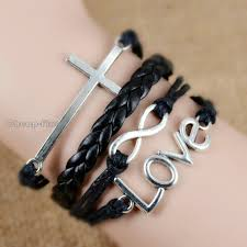 infinity love leather bracelet images Infinity love cross leather nautical friendship bracelet couple JPG