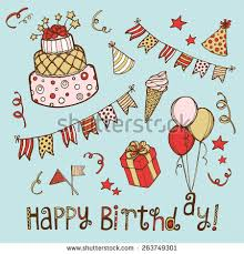 hand drawn birthday set birthday cake stock vector 260767175