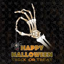 halloween greeting card with skeleton hand vector image 184932