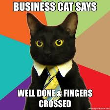 Fingers Crossed Meme - business cat says well done fingers crossed business cat meme