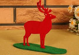 Christmas Decorations Red Deer by Party Ornament Red Felt Fabric Deer Stand Christmas Decorations