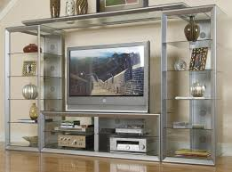 big screen wall unit w glass storage shelves