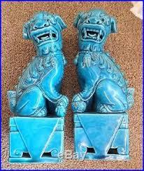 blue foo dogs pair of foo dog statues turquoise blue vintage fu guardian
