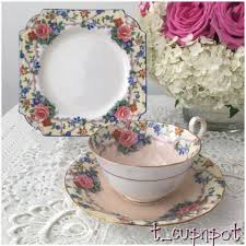 beautiful vintage aynsley trio tea cup saucer and tea plate