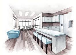Kitchen Drawings Kitchen Design Architecture Watercolor Sketch Drawing Draw