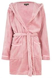 dressing gown fluffy satin trim hooded dressing gown