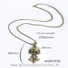 chambre de compensation bijoux collier de crâne de mode pour hommes kl0013 jaune chambre
