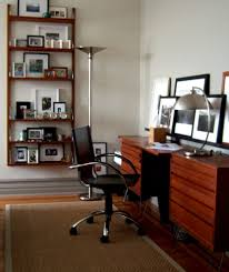 miami mid century desk home office modern with grey wall