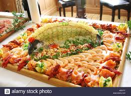 wedding platter seafood platter with a whole decorated salmon at a wedding