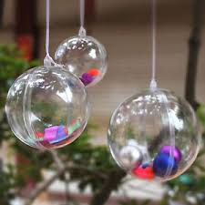 clear plastic fillable ornaments favor crafts 12