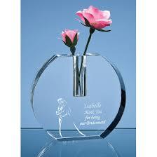 Crystal Flower Vases Crystal Vase With Glass Flower Engraved Awards Navillus