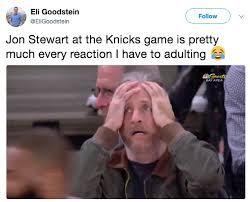 Jon Stewart Memes - jon stewart knicks reaction know your meme
