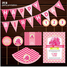 many stock birthday party invitation card vector creation set of design elements for birthday party stock vector image