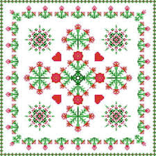 square carnation design cross stitch pattern flowers