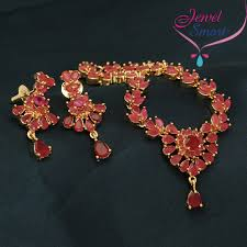 gold necklace with stones images Gold plated ruby stones marquee stones necklace earrings jpg