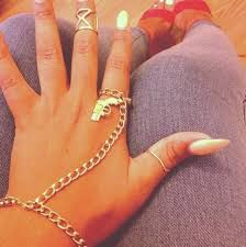 bracelet chain ring images Jewels bracelets chain nails ring hand jewelry fashion dope jpg