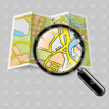 City Map Glasses Paper City Map With Magnifying Glass Royalty Free Vector Clip Art