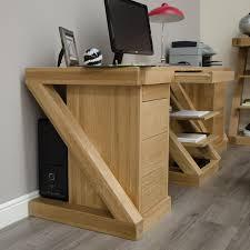 Z Shaped Desk Z Solid Oak Designer Furniture Large Office Pc Computer Desk Ebay