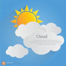orange sun with clouds blue sky background design vector