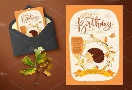 autumn inspired kids birthday cards card templates creative market