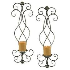 Wall Sconce Set Of 2 Adeco Brown Iron Vertical Wall Hanging Accents Candle Holder