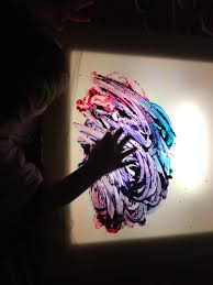 painting on the light table crozet play