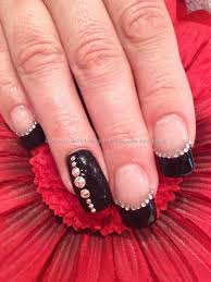 black gel polish with swarovski crystal nail art from tips 2