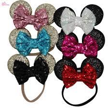 designer hair accessories fashion xima child mickey minnie mouse ears glitter sequin