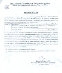 Tender Acceptance Letter Acceptance Period by Uet Lahore University Of Engineering And Technology