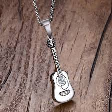 stainless steel guitar necklace images Men necklac stainless steel guitar pick necklaces pendants for jpg