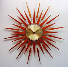 mid century modern wall clock with modern starburst clock and