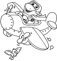 barney flying airplane barney friends coloring