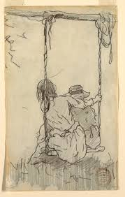 drawing two girls in a swing 1879 objects collection of