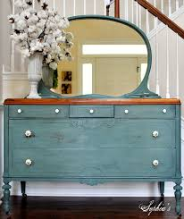 the turquoise iris vintage modern hand painted furniture dresser