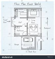 Floor Plan Flat by Floor Plan House Sketch Technical Construction Stock Illustration