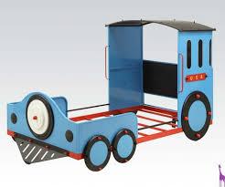 acme 37560t tobi 4pcs blue black red youth twin train bedroom set