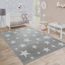 kinderzimmer grau wei kurzflor kinderteppich sterne grau kinder teppiche