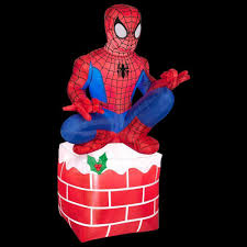 Outdoor Christmas Decorations Home Depot Gemmy 3 5 Ft Led Inflatable Outdoor Spider Man Sitting On Chimney