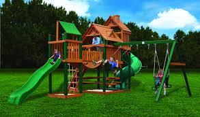Lowes Swing Sets Furniture Gorilla Playsets Blue Ridge Swing Set With Green Slides