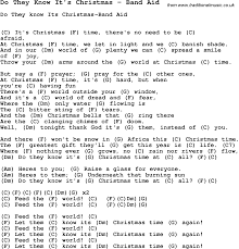 song do they know it u0027s christmas by band aid song lyric for vocal