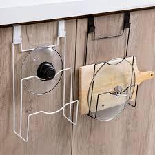 kitchen cupboard storage pans pot cover shelf cupboard door hanging pan lid holder storage rack organizer stand kitchen storage organizer