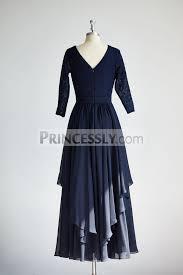 navy blue dress modest sleeves navy blue lace chiffon wedding dress