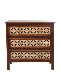 buy fabindia brown mango stella chest 3 drawers carved cabinet