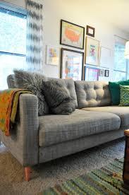 diy tufting ikea karlstad sofa living pinterest living rooms